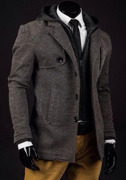 gray jacket pea coat winter jacket