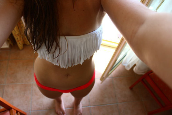 swimwear white fringed
