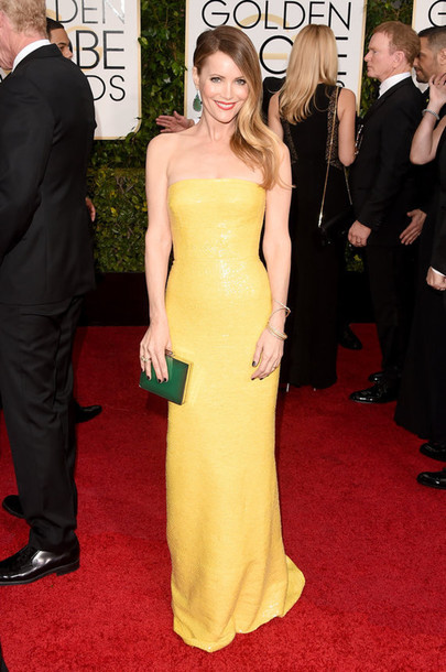 dress leslie mann Golden Globes 2015 yellow dress bustier dress