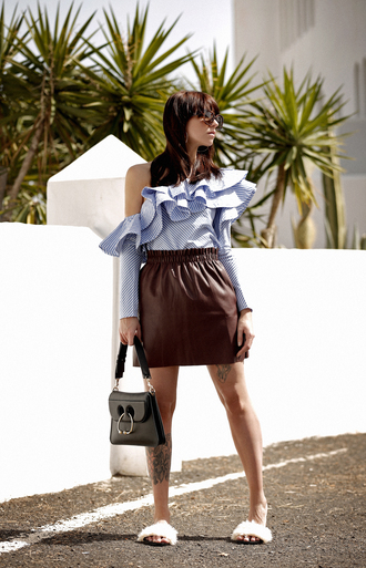 top tumblr ruffled top skirt mini skirt leather skirt shoes furry shoes slide shoes bag black bag ruffle