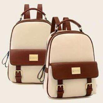 bag cream brown leather bag backpack