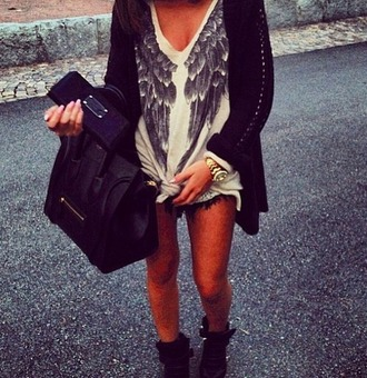 shirt t-shirt wings blouse black celine white shorts sweater wings sweater angel bag pull angels wings dope top beige knit winter outfits long sleeves v neck print celeb style fashion