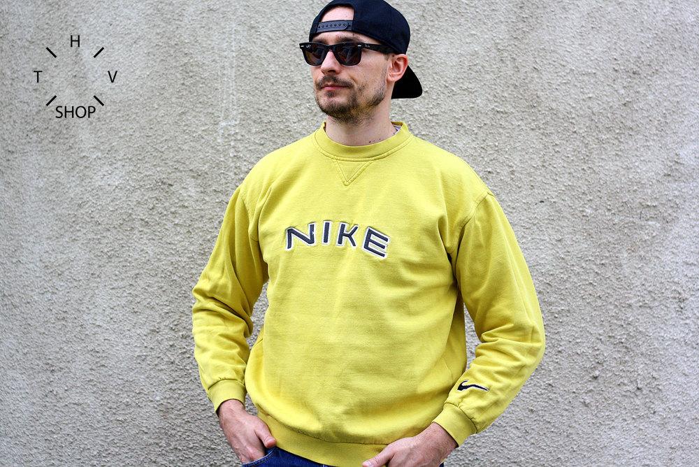 Yellow Sweater Tumblr Oversized Vintage Yellow Nike wTfqR0X