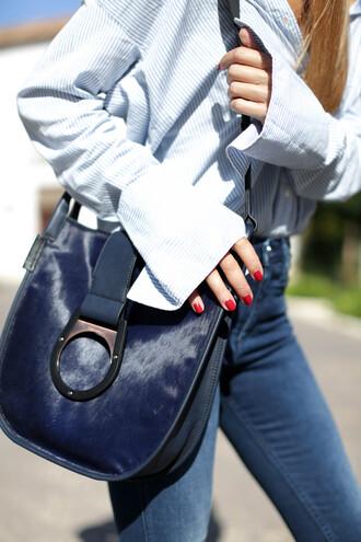 bag tumblr blue bag shirt white shirt fur denim jeans blue jeans nail polish red nails furry pouch