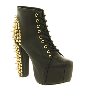 Jeffrey Campbell Lita Platform Ankle Boot Black Gold Spikes - Ankle Boots