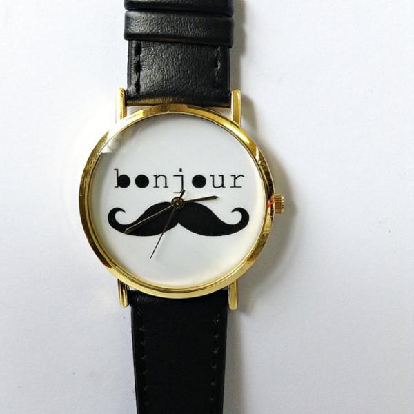jewels bonjour moustache watch freeforme cute gold vintage