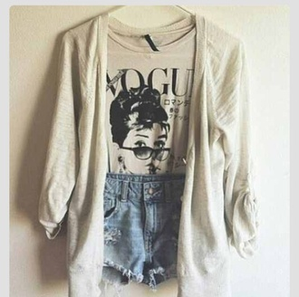 sweater hipster boho grunge alternative shirt vogue high waisted shorts audrey hepburn blouse
