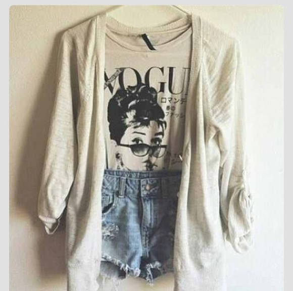 sweater vogue shirt audrey hepburn hipster boho grunge alternative high waisted shorts blouse