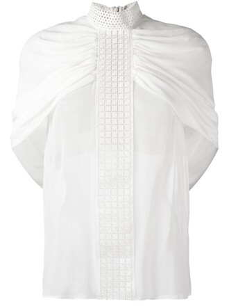 blouse cape embroidered white top