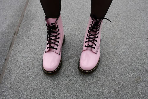 pink pale pink shoes pastel DrMartens pink shoes boots black pung dc martens