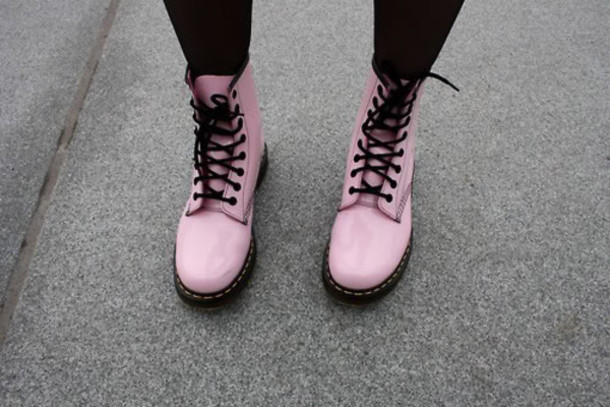 5c35a13b603 shoes soes pung pastel black dc martens pink DrMartens light pink pink  shoes boots tumblr shoes