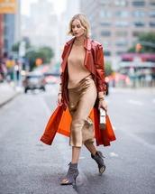 skirt,midi skirt,silk,ankle boots,balenciaga,clutch,sweater,coat,trench coat