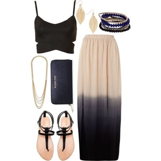 skirt black cream high waist ombre skirt ombre dip dye