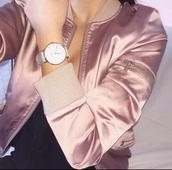 jacket,pink,bomber jacket,pink bomber jacket,satin bomber,watch,satin