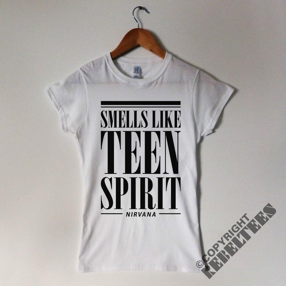 Womens nirvana t shirt smells like teen spirit kurt cobain grunge nevermind new
