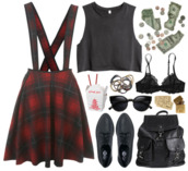 dress,pinafore,leather bag,lace bra,black crop top,grunge,bag,shirt,shoes,underwear