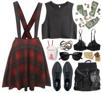 dress pinafore leather bag lace bra black crop top grunge bag shirt shoes underwear