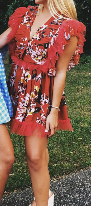 dress ruffle red floral vneck dress