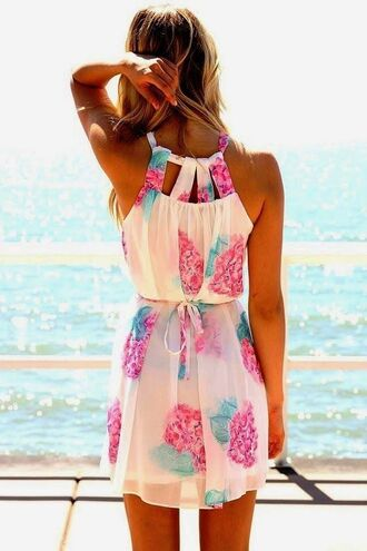 dress summer dress floral dress flowers pink cut-out stylish summer gorgeous pastel
