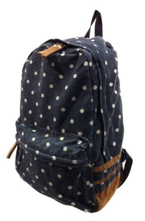 24021 polkadot print canvas backpack (black): clothing