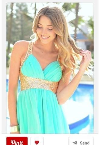 dress turquoise dress gold sequins chiffon dress white dress