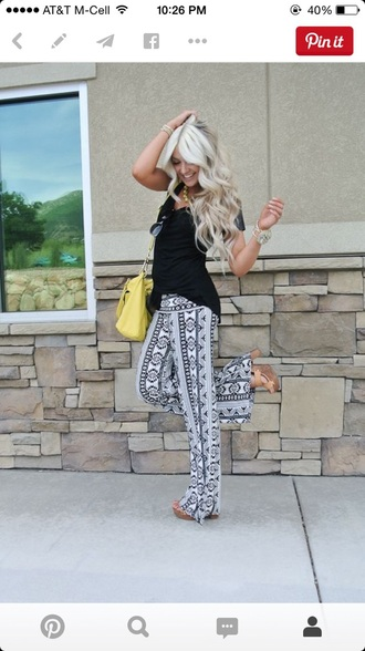 pants tribal pattern black and white hippie boho boho chick trendy red lime sunday