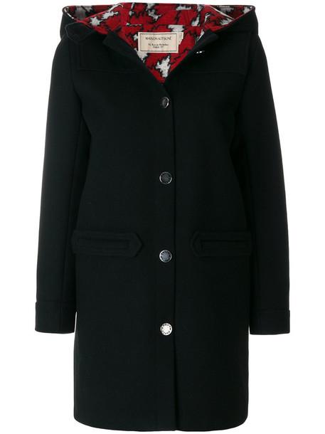 maison kitsune coat women black wool