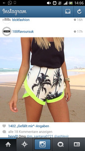 shorts,tank top,jumpsuit,romper,white,neon,printed shorts,palm tree print,palm tree,tropical,summer,colorful,top,crop tops,style,outfit,floral tank top,cute top,hippie,hipster top,cardigan