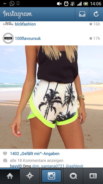 shorts tank top jumpsuit romper white neon printed shorts palm tree print palm tree tropical summer colorful top crop tops style outfit floral tank top cute top hippie hipster top cardigan