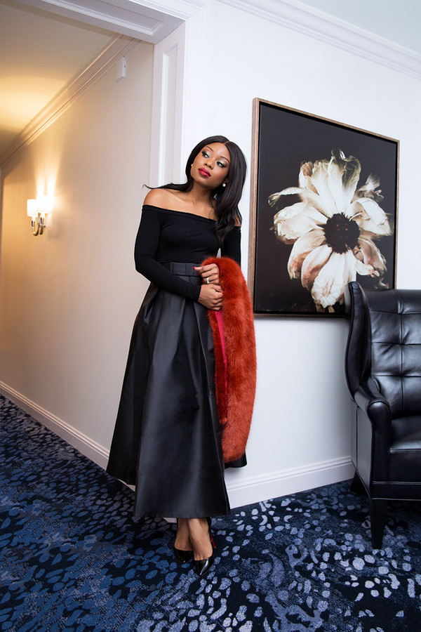 jadore-fashion blogger skirt top shoes make-up black fur heels black girls killin it black skirt long skirt off the shoulder dress fur scarf high heel pumps pumps classy holiday season off the shoulder