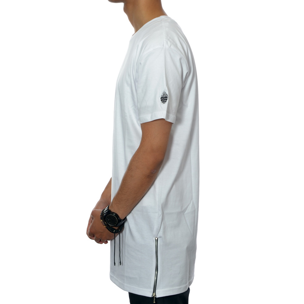 Essential tall zip tee (white)