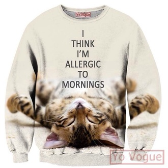 sweater cat sweater top fashion cool pastel goth hoodie style summer top lazy day blogger 3d sweatshirts sweatshirt t-shirt
