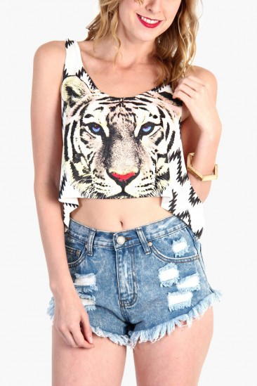 LoveMelrose.com From Harry & Molly   Tiger Print Crop Top  - White