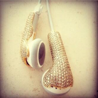 jewels earphones technology music pretty gold