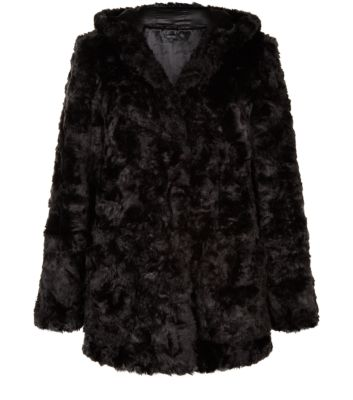Black Faux Fur Hodded Coat