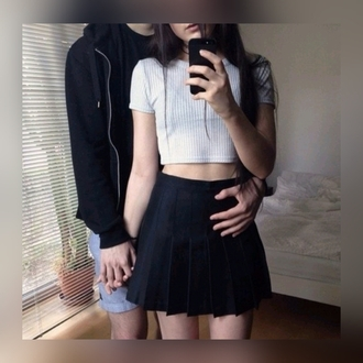 top white crop top see through cropped sweater tennis skirt american apparel skirt relationship grunge