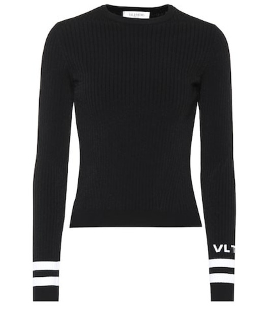 Valentino Logo ribbed knit sweater in black