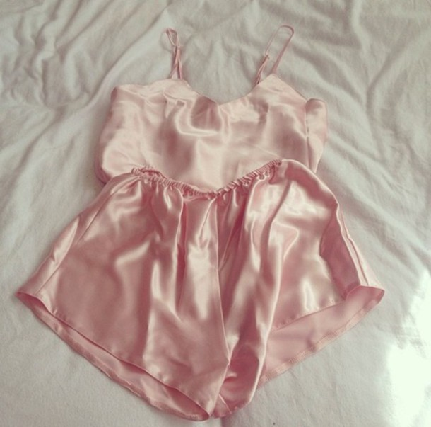 pajamas silk babydoll shorts top pink girly sleep home decor fashion cute
