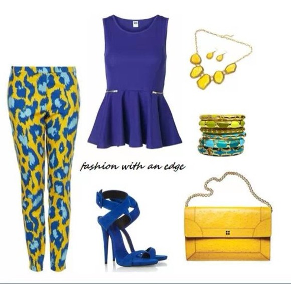 diamond bag blue yellow blouse pants clothes shoes high heels fashion trendy jewelry peplum blue high heels purse chain urban bold prints outfits cheetah print summer outfits