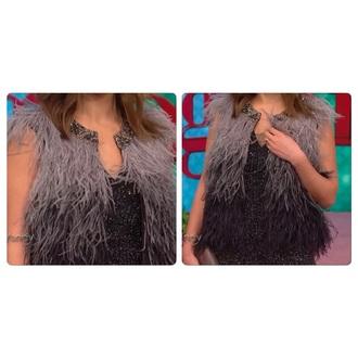 cardigan embellished fur vest
