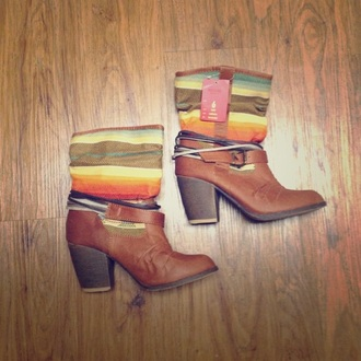 shoes aztec boots heels colorful brown leather boots nice perfecto