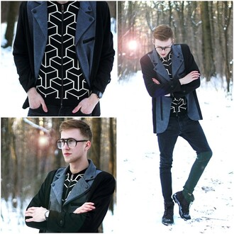 shirt style menswear layer winter outfits tones blue grey black pattern black and white vest coat zips street streetwear streetstyle