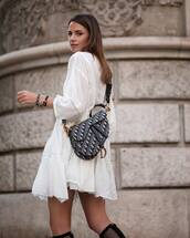 dress,mini dress,casual dress,white dress,stacked bracelets,bag