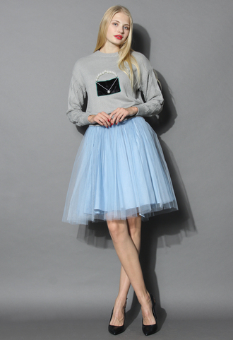 skirt festive pleated mesh tulle skirt in powderblue chicwish tulle skirt