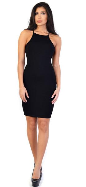 Glamorous black square front jersey midi dress