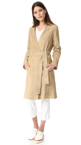 Vince Suede Robe Coat - Khaki