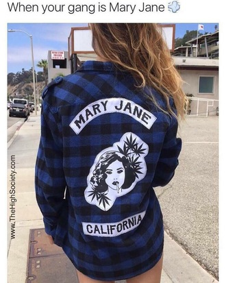 sweater blue flannel shirt mary jane marijuana weed shirt plaid shirt california