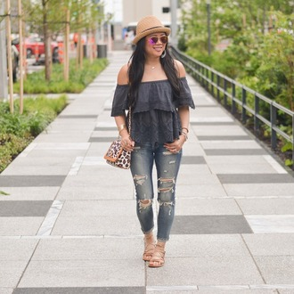 morepiecesofme blogger hat sunglasses jewels bag top shoes off the shoulder top sandals ripped jeans spring outfits