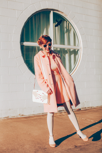 the clothes blogger sunglasses dress coat bag retro peach round sunglasses red hair hairstyles