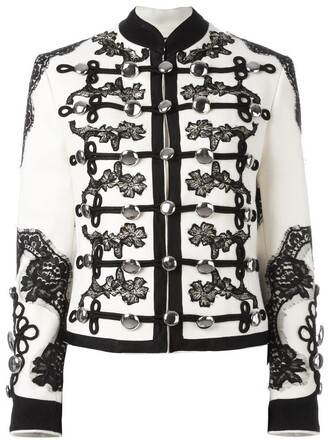 jacket embroidered women floral white cotton silk wool